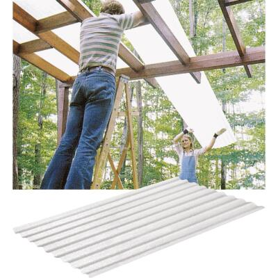 Sequentia WeatherGlaze 26 In. x 8 Ft. White Round 1-Sided Fiberglass Corrugated Panels