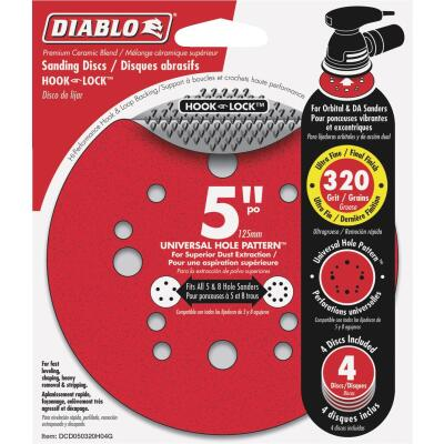 Diablo 5 In. 320-Grit Universal 12-Hole Vented Sanding Disc with Hook and Lock Backing (4-Pack)