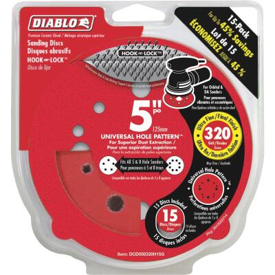 Diablo 5 In. 320-Grit Universal 12-Hole Vented Sanding Disc with Hook and Lock Backing (15-Pack)