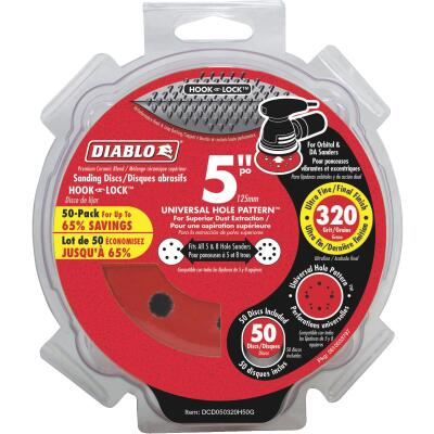 Diablo 5 In. 320-Grit Universal 12-Hole Vented Sanding Disc with Hook and Lock Backing (50-Pack)