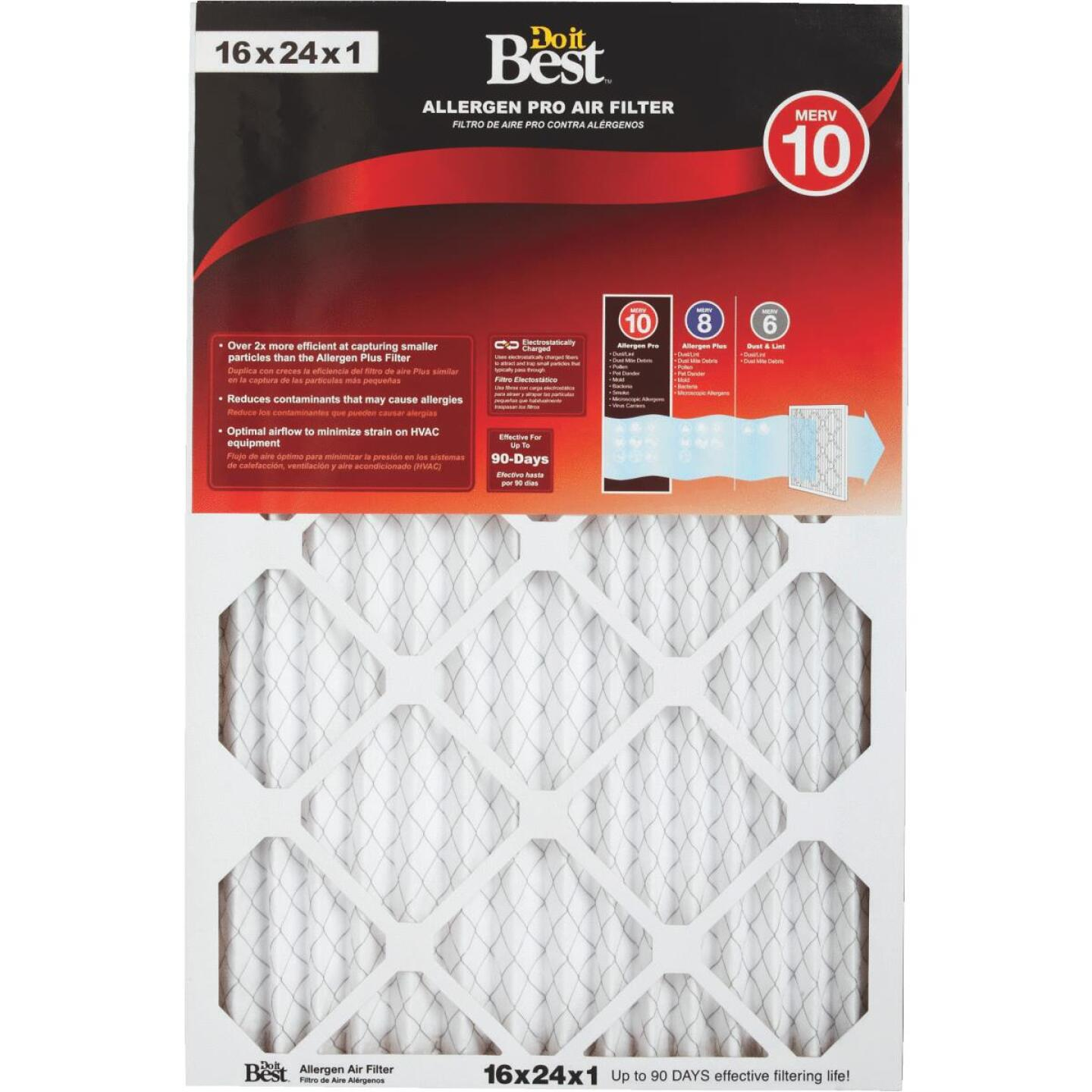 Do it Best 16 In. x 24 In. x 1 In. Allergen Pro MERV 10 Furnace Filter Image 1
