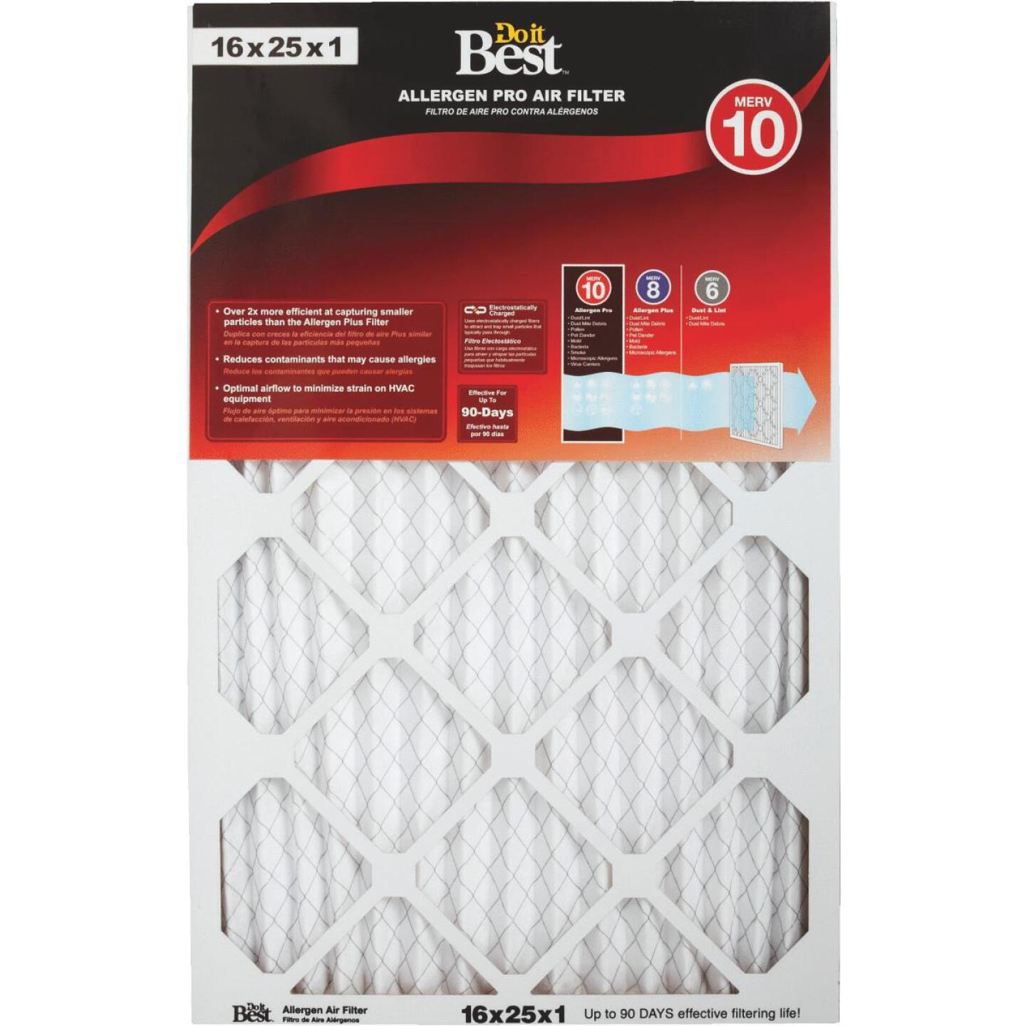 Do it Best 16 In. x 25 In. x 1 In. Allergen Pro MERV 10 Furnace Filter Image 1