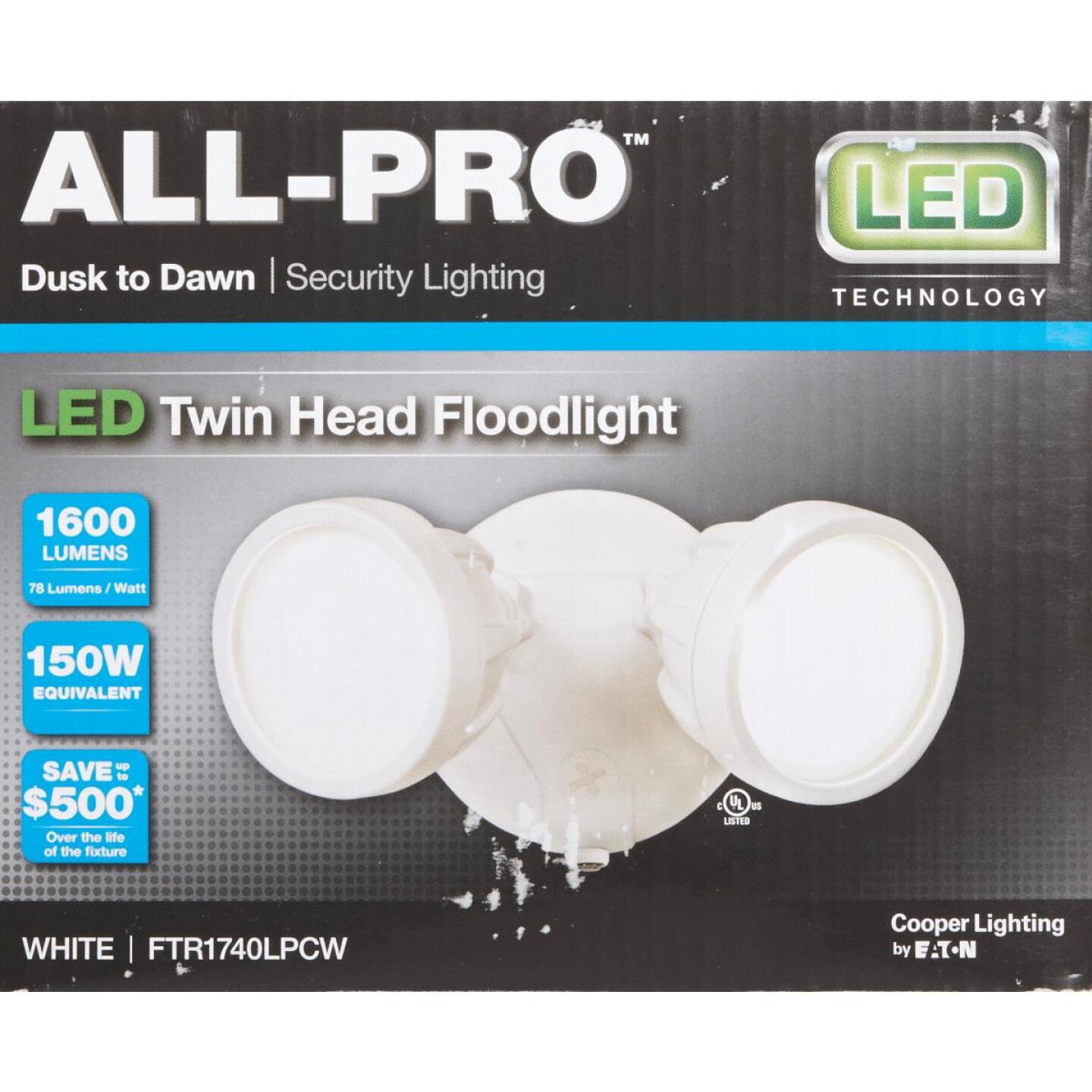 All-Pro White Dusk To Dawn LED Floodlight Fixture Image 2