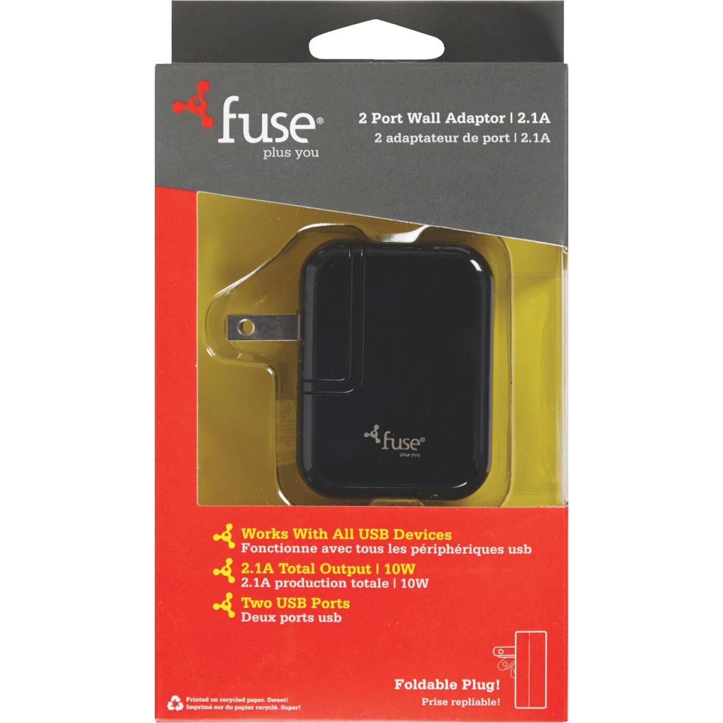 Fuse 2-Port Black Wall USB Charger Image 3