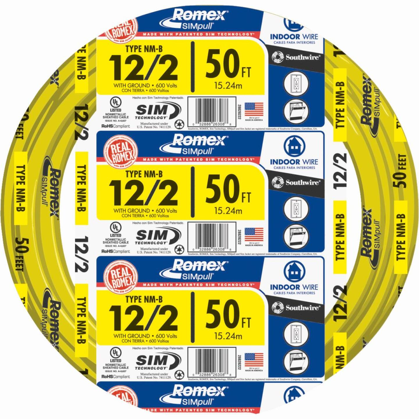 Romex 50 Ft. 12-2 Solid Yellow NMW/G Wire Image 1