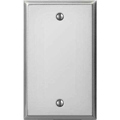 Amerelle 1-Gang Standard Stamped Steel Blank Wall Plate, Polished Chrome