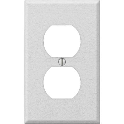 Amerelle PRO 1-Gang Stamped Steel Outlet Wall Plate, White Wrinkle