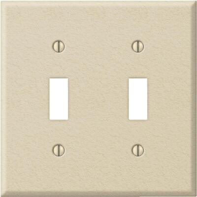 Amerelle PRO 2-Gang Stamped Steel Toggle Switch Wall Plate, Ivory Wrinkle