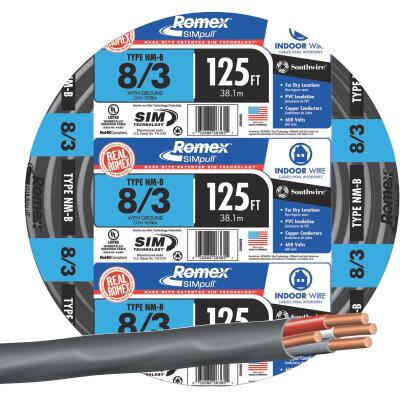 Romex 125 Ft. 8-3 Solid Black NMW/G Wire