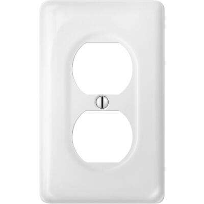 Amerelle 1-Gang Ceramic Outlet Wall Plate, White