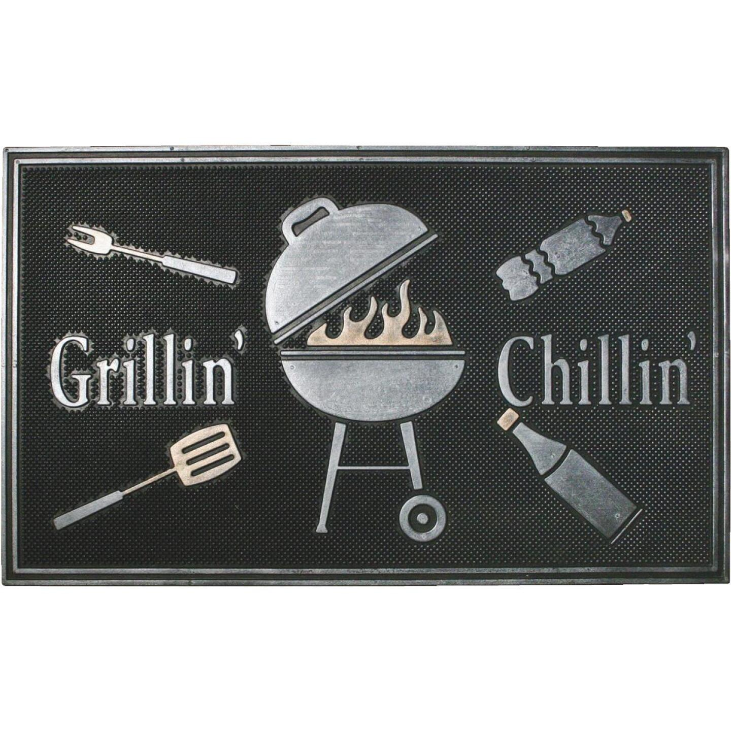 Robert Allen Home & Garden Black 18 In. x 30 In. Rubber Grillin Chillin Door Mat Image 1